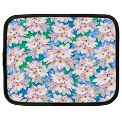 Plumeria Bouquet Exotic Summer Pattern  Netbook Case (xl)  by BluedarkArt