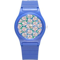 Plumeria Bouquet Exotic Summer Pattern  Round Plastic Sport Watch (s) by BluedarkArt