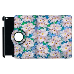 Plumeria Bouquet Exotic Summer Pattern  Apple Ipad 3/4 Flip 360 Case by BluedarkArt
