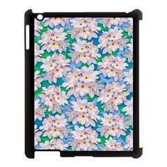 Plumeria Bouquet Exotic Summer Pattern  Apple Ipad 3/4 Case (black) by BluedarkArt