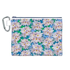 Plumeria Bouquet Exotic Summer Pattern  Canvas Cosmetic Bag (l) by BluedarkArt