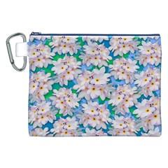 Plumeria Bouquet Exotic Summer Pattern  Canvas Cosmetic Bag (xxl) by BluedarkArt