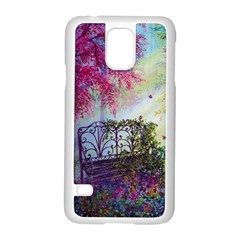 Bench In Spring Forest Samsung Galaxy S5 Case (white) by Amaryn4rt