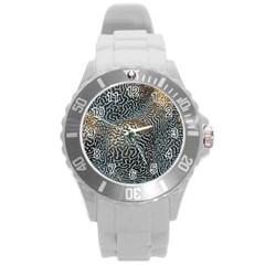 Coral Pattern Round Plastic Sport Watch (L)