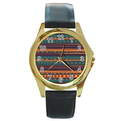 Ethnic Style Tribal Patterns Graphics Vector Round Gold Metal Watch by Amaryn4rt