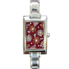 India Traditional Fabric Rectangle Italian Charm Watch by Amaryn4rt