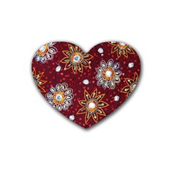 India Traditional Fabric Heart Coaster (4 Pack)  by Amaryn4rt