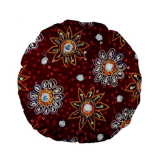 India Traditional Fabric Standard 15  Premium Round Cushions by Amaryn4rt