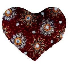 India Traditional Fabric Large 19  Premium Heart Shape Cushions