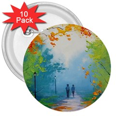 Park Nature Painting 3  Buttons (10 Pack)  by Amaryn4rt
