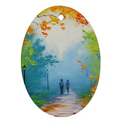Park Nature Painting Oval Ornament (two Sides)