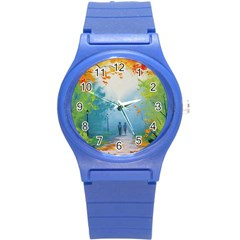 Park Nature Painting Round Plastic Sport Watch (s) by Amaryn4rt