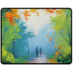 Park Nature Painting Double Sided Fleece Blanket (medium)