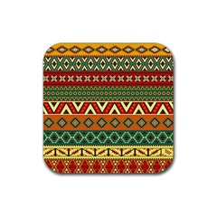 Mexican Folk Art Patterns Rubber Coaster (square)  by Amaryn4rt