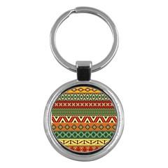Mexican Folk Art Patterns Key Chains (round)  by Amaryn4rt