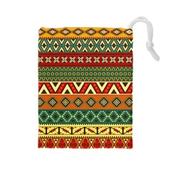Mexican Folk Art Patterns Drawstring Pouches (large)  by Amaryn4rt