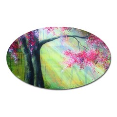 Forests Stunning Glimmer Paintings Sunlight Blooms Plants Love Seasons Traditional Art Flowers Sunsh Oval Magnet by Amaryn4rt