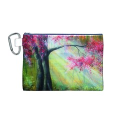 Forests Stunning Glimmer Paintings Sunlight Blooms Plants Love Seasons Traditional Art Flowers Sunsh Canvas Cosmetic Bag (m) by Amaryn4rt