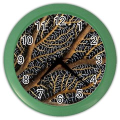 Trees Forests Pattern Color Wall Clocks by Amaryn4rt