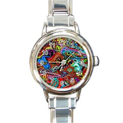 Vector Art Pattern Round Italian Charm Watch by Amaryn4rt