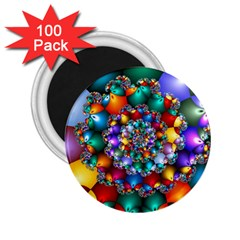 Rainbow Spiral Beads 2 25  Magnets (100 Pack)  by WolfepawFractals