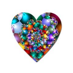 Rainbow Spiral Beads Heart Magnet by WolfepawFractals