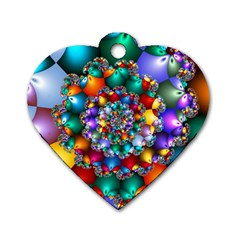 Rainbow Spiral Beads Dog Tag Heart (two Sides) by WolfepawFractals