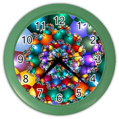 Rainbow Spiral Beads Color Wall Clocks by WolfepawFractals