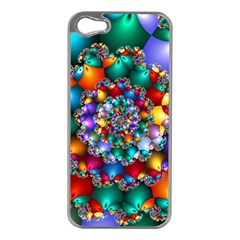 Rainbow Spiral Beads Apple Iphone 5 Case (silver) by WolfepawFractals