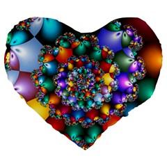 Rainbow Spiral Beads Large 19  Premium Heart Shape Cushions by WolfepawFractals
