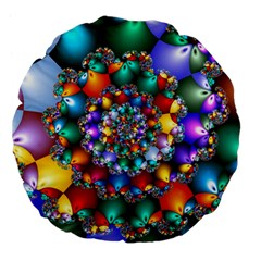 Rainbow Spiral Beads Large 18  Premium Flano Round Cushions by WolfepawFractals