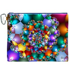 Rainbow Spiral Beads Canvas Cosmetic Bag (xxxl) by WolfepawFractals