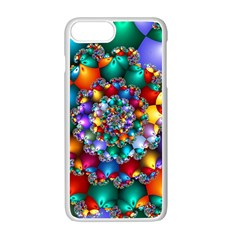 Rainbow Spiral Beads Apple Iphone 7 Plus White Seamless Case by WolfepawFractals