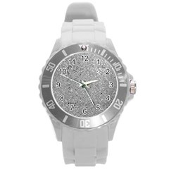 Abstract Flowing And Moving Liquid Metal Round Plastic Sport Watch (l) by Amaryn4rt