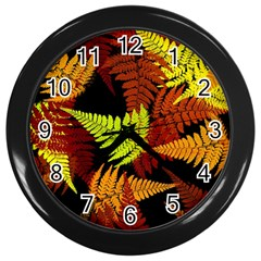 3d Red Abstract Fern Leaf Pattern Wall Clocks (black)