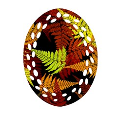 3d Red Abstract Fern Leaf Pattern Oval Filigree Ornament (two Sides) by Amaryn4rt