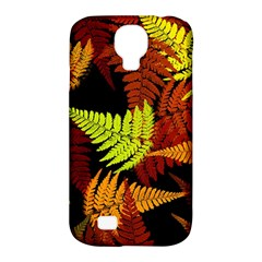 3d Red Abstract Fern Leaf Pattern Samsung Galaxy S4 Classic Hardshell Case (pc+silicone) by Amaryn4rt