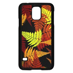 3d Red Abstract Fern Leaf Pattern Samsung Galaxy S5 Case (black) by Amaryn4rt