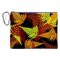 3d Red Abstract Fern Leaf Pattern Canvas Cosmetic Bag (xxl) by Amaryn4rt