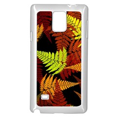 3d Red Abstract Fern Leaf Pattern Samsung Galaxy Note 4 Case (white) by Amaryn4rt