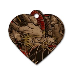 Chinese Dragon Dog Tag Heart (two Sides) by Amaryn4rt