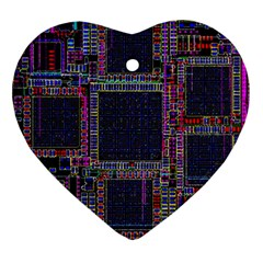 Technology Circuit Board Layout Pattern Heart Ornament (two Sides) by Amaryn4rt