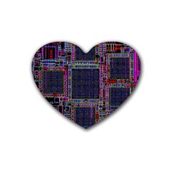 Technology Circuit Board Layout Pattern Heart Coaster (4 Pack)  by Amaryn4rt