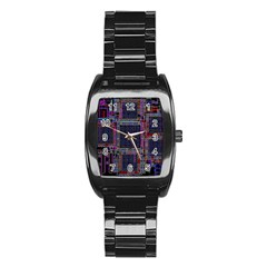 Technology Circuit Board Layout Pattern Stainless Steel Barrel Watch by Amaryn4rt