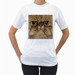 Cute Persian Cat Face In Closeup Women s T Shirt (white) (two Sided) by Amaryn4rt