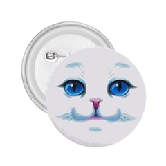 Cute White Cat Blue Eyes Face 2 25  Buttons