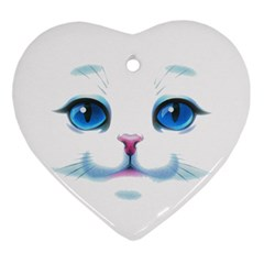 Cute White Cat Blue Eyes Face Ornament (heart)