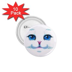 Cute White Cat Blue Eyes Face 1 75  Buttons (10 Pack) by Amaryn4rt