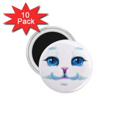 Cute White Cat Blue Eyes Face 1 75  Magnets (10 Pack)  by Amaryn4rt