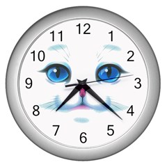 Cute White Cat Blue Eyes Face Wall Clocks (silver)  by Amaryn4rt